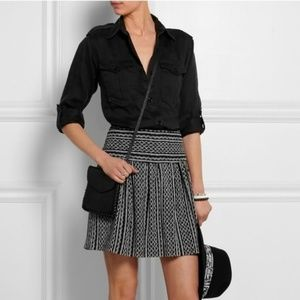 Madewell Silk Skirt Size 6 black and white
